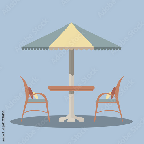 Tablou Canvas Bistro round table with open umbrella tent and two chairs