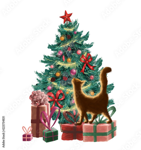 Fotografie, Obraz  raster christmas greeting card with a christmas tree, ornaments, present boxes, garland and an orange cat