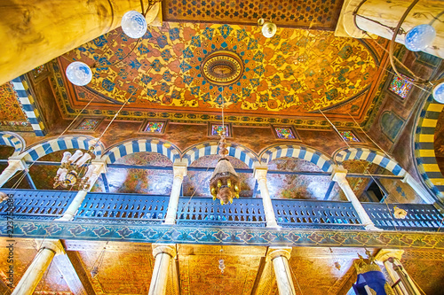 The painted ceiling of Ben Ezra Synagogue in Cairo, Egypt Canvas Print