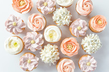 Mini Cupcakes Decorated With Buttercream Flowers.