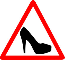 Woman Warning High Heel Shoes ...