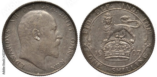 Fotografija  Great Britain British silver coin 1 one shilling 1907, head of King Edward VII r