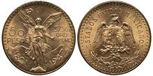 Mexico Mexican Golden Coin 50 Fifty Peso 1947, Subject Centennial Of Independence, Winged Victory Holding Laurel Wreath And Piece Of Chain, Mountains Behind, Eagle On Cactus Catching Snake,