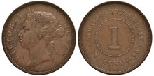 British Straits Settlements Coin 1 One Cent 1883, Queen Victoria Head Left, Digit Of Value Within Circle Of Beads, Date Below, Colonial Time