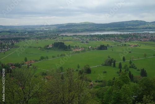 Fotobehang Blauwe hemel Germany. Mountains. field. village