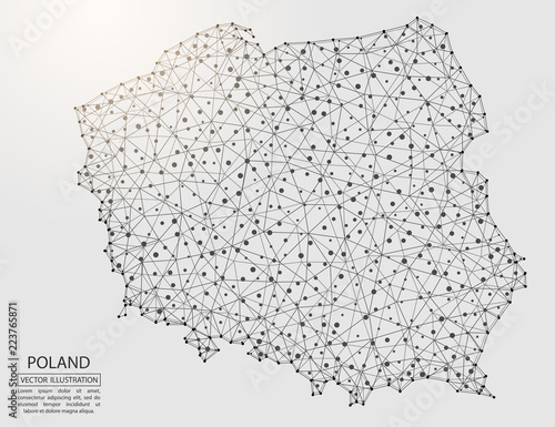 Cuadros en Lienzo  A map of Poland consisting of 3D triangles, lines, points, and connections