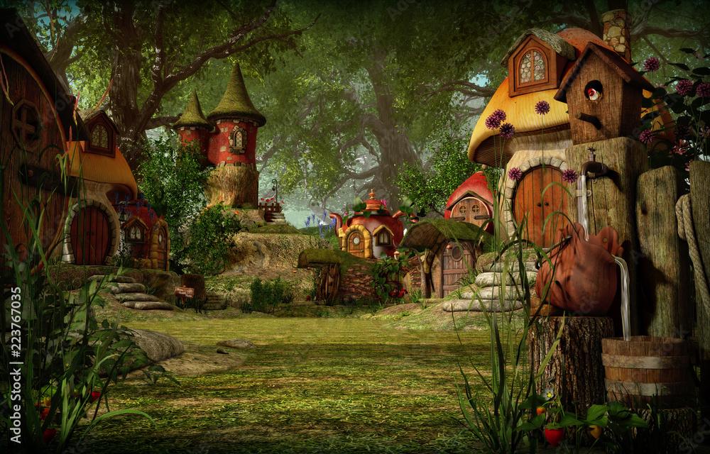 Fototapeta Elves Town, 3d CG