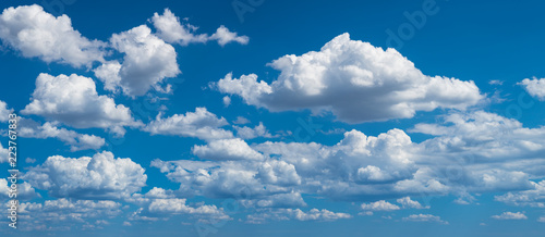 Obraz Romantic panoramic cloudscape with azure blue heaven. Idyllic sunlit panorama with flowing white fluffy clouds. Beautiful clear sky in background. Sunny summer day. Idea of climate, weather, ecology. - fototapety do salonu