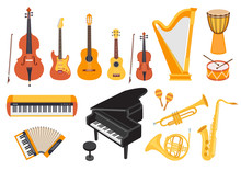 Big Musical Instruments Set Isolated On White Background. Guitar, Ukulele, Piano, Harp, Accordion, Maracas, Violin Etc. Flat Style, Vector Illustration