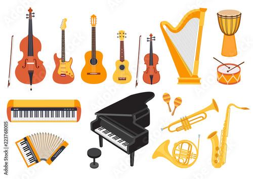 Fotografia Big musical instruments set isolated on white background