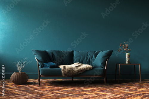 Fotografia Home interior mock-up with green sofa, table and decor in living room, 3d render