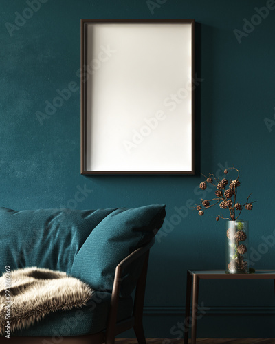 Fotomural  Mock-up frame in dark green home interior with sofa, fur, table and branch in va