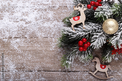 Christmas Holidays Background Wooden Letters Pine Tree Branch