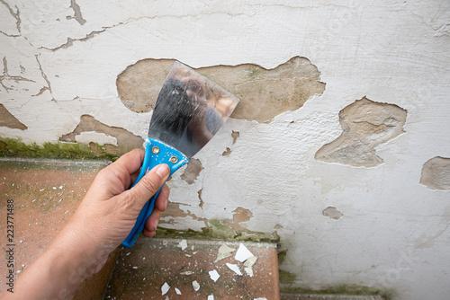 Kellerwand mit abgeblättertem Putz renovieren Wallpaper Mural