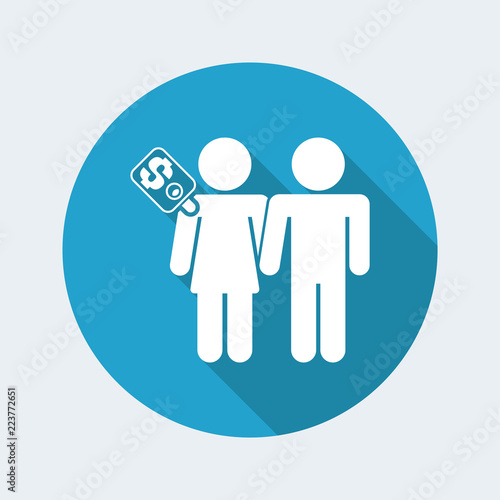 Photo Vector illustration of female prostitution concept isolated icon