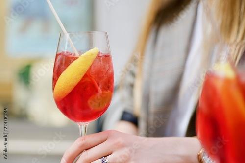 Fototapeta lifestyle flatlay shoot of alcholic italian famous refreshing drink outdoor, summer italian drink obraz na płótnie
