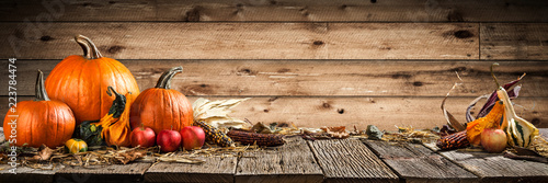 Slika na platnu Thanksgiving With Pumpkins Corncob And Apples On Wooden Table