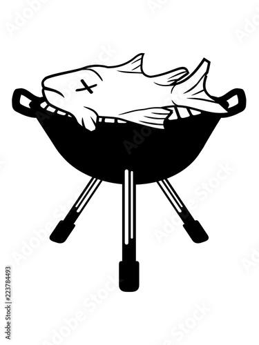 Photo  meister grillen bbq schürze koch chef cool fisch schwimmen tauchen angeln tot to