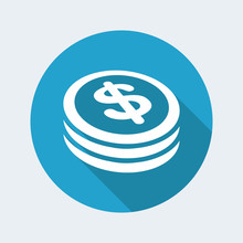 Dollar Coin Flat Icon