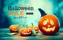 Halloween Sale With Pumpkins O...