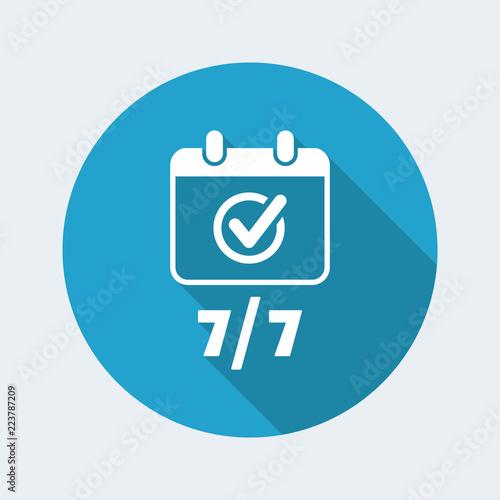 Fényképezés  Steady services seven days - Vector web icon