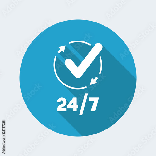 Fényképezés  Steady checking services - Vector web icon