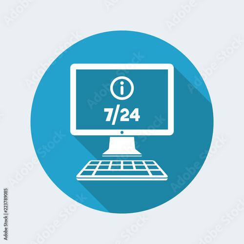 Fényképezés  Online info 7/24 - Vector flat icon