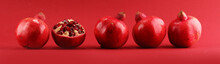 Ripe Pomegranates. Sliced And ...