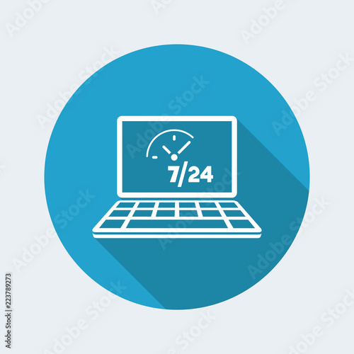 Fényképezés  Daily full time computer service - Vector flat icon