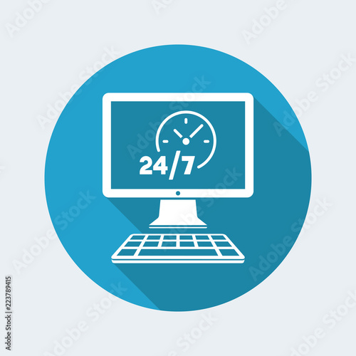 Fényképezés  24/7  ful time web services - Vector flat icon