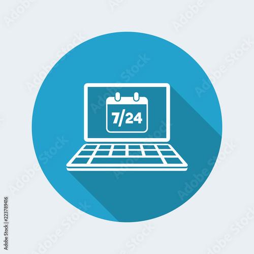 Fényképezés  Computer calendar 7/24 - Vector flat icon
