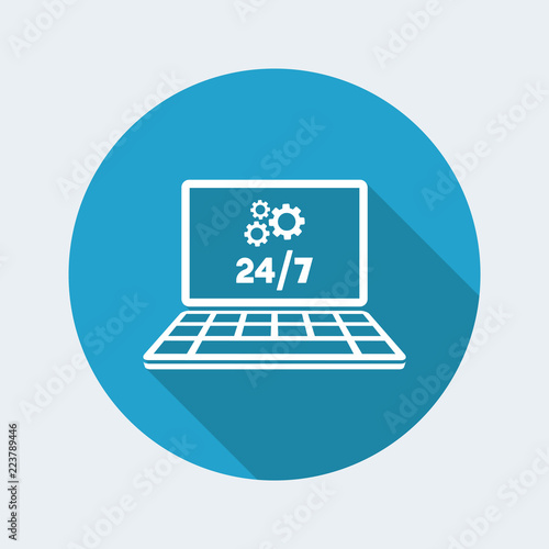 Fényképezés  Technical computer support 24/7 - Vector flat icon