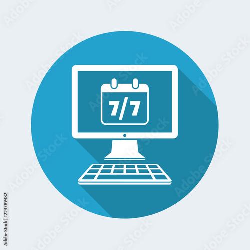 Fényképezés  7/7 computer service full time - Vector flat icon