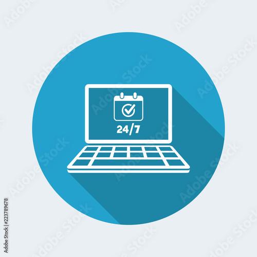Fényképezés  Check 24/7 computer services - Vector flat icon