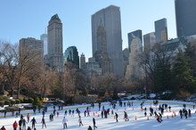 Ice-skating People In Central Park, Manhattan, New York City, USA.