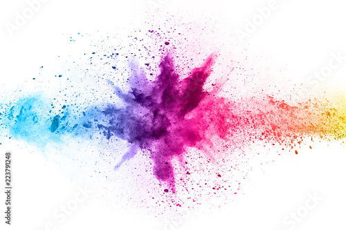 Acrylic Prints Form abstract powder splatted background. Colorful powder explosion on white background. Colored cloud. Colorful dust explode. Paint Holi.