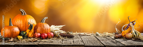Fotografie, Obraz  Thanksgiving With Pumpkins  Corncob And Apples On Wooden Table
