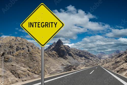 Fotografia  Integrity highway sign honesty concept