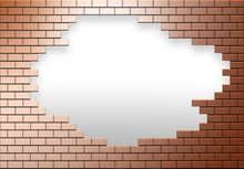 A Copper Colored Brick Wall Has A Hole In It Allowing Escape To Another Area, World, Life Or Whatever Is Needed.