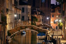 Venice Canal Night Bridge