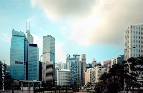 Staande foto Stad gebouw Bottom up view of Modern office building in Hong Kong