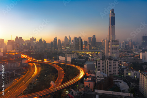 Bangkok cityscape at morning with traffic on highway with cars Wallpaper Mural