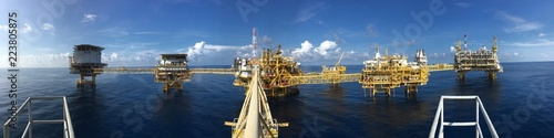 Panorama view of oil and gas central process platform