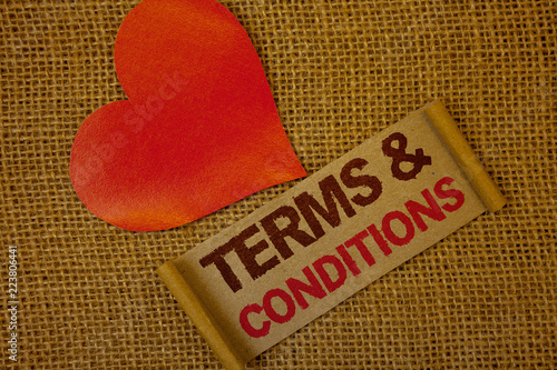 Word Writing Text Terms And Conditions Business Concept For Legal