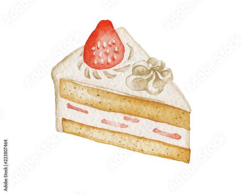 Vászonkép イチゴ ケーキ クリスマス 誕生日 水彩 イラスト