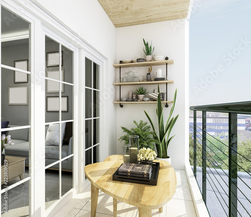 Photo Modern balcony design, coffee table, green plants and glass railings, etc