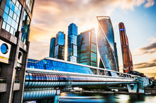 Skyscrapers Of Moscow City At Sunset - Moscow International Business Center In Russia