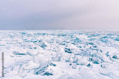 Crack Surface Water Lake Freeze Winter Season Baikal Russia Winter