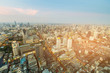 Aerial view Bangkok city central business downtown, cityscape background