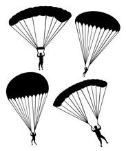 Black Silhouette. Parachutist ...